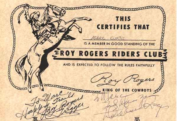 Marc Curtis Home. Roy Rogers Riders Club autographed image